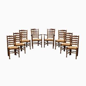Sedie da pranzo antiche in quercia, set di 8
