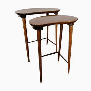 Vintage Danish Kidney-Shaped Side Tables, Set of 2