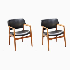 Model 4205 Armchairs by Ejnar Larsen & Aksel Bender Madsen for Fritz Hansen, 1950s, Set of 2