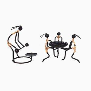 Mid-Century Aschenbecher & Kerzenhalter aus Metall & Details aus Rattan von Bror Bonfils, 2er Set
