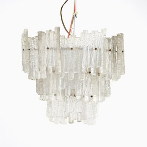 Ice Glass Chandelier from Kinkeldey, 1970s