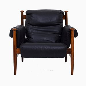 Leather and Rosewood Armchair by Eric Merthen for Ire Möbler, 1960s