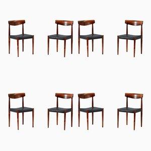 Chaises de Salle à Manger Modèle 343 en Palissandre par Knud Faerch pour Slagelse Møbelværk, années 60, Set de 8