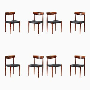 Model 343 Rosewood Dining Chairs by Knud Faerch for Slagelse Møbelværk, 1960s, Set of 8