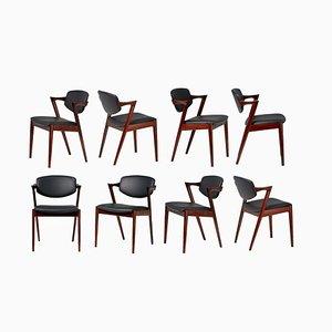Chaises de Salle à Manger Modèle 42 en Palissandre par Kai Kristiansen pour Skovmand & Andersen, 1956, Set de 8
