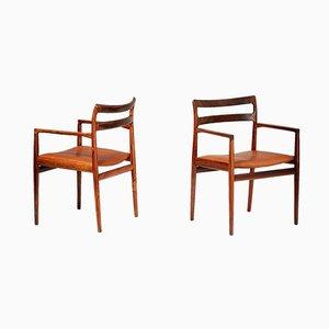 Armlehnstühle aus Palisander & braunem Anilinleder von Norgaard Mobelfabrik, 1960er, 2er Set