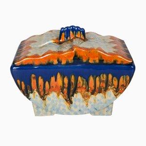 Portuguese Orange, White, and Blue Ceramic Container, 1930s