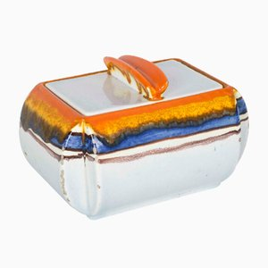 Portuguese Orange, White, and Blue Ceramic Container by Schramberg Majolika, 1930s