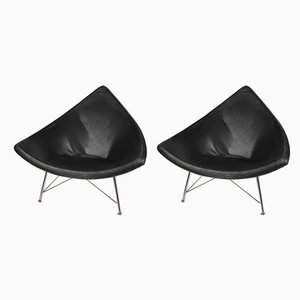 Black Coconut Lacquered Fiberglass and Leather Armchairs, 1980s, Set of 2