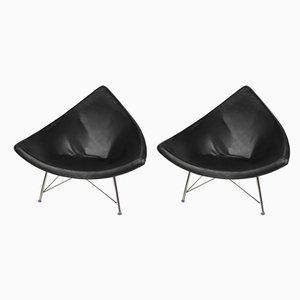 Schwarze Coconut Sessel aus lackierter Glasfaser & Leder, 1980er, 2er Set