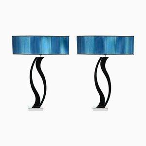 Blaue Tischlampen, 1980er, 2er Set