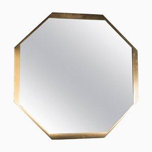 Specchio a muro ottagonale in ottone, anni '80
