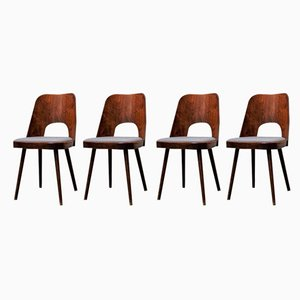 Czechoslovakian Walnut Veneered Dining Chairs by Oswald Haerdtl for Ton Bystrice, 1950s, Set of 4