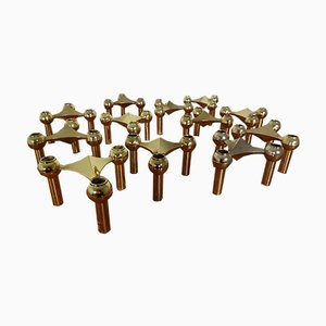 Gold-Plated Candleholders by Ceasar Stoffi & Fritz Nagel for BMF, 1960s, Set of 12