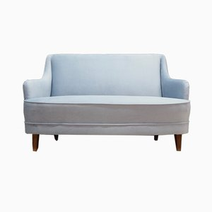 Danish Blue Velour Sofa, 1970s