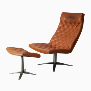 Mid-Century Danish Leather Lounge Chair and Footstool Set, 1970s