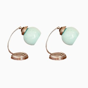 Art Déco Vintage Tischlampen mit türkisem Schirm aus Opalglas, 2er Set