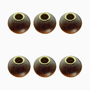 Danish Teak Candleholders, 1960s, Set of 6
