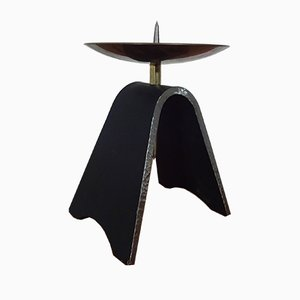 Brutalist Iron and Brass Candleholder, 1960s