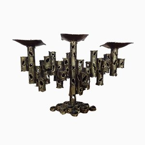 Brutalist Iron Candleholder, 1960s