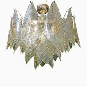 Lámpara de techo italiana vintage de cristal de Murano y latón de La Murrina