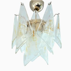 Vintage Italian Murano Glass and Brass Ceiling Lamp from La Murrina
