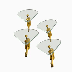 Garderobenhaken aus Glas & Messing von Fontana Arte, 1940er, 4er Set