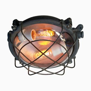 Vintage Industrial Gray Cast Iron and Clear Glass Sconce, 1950s