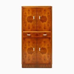 Mueble bar Art Déco irlandés de madera de arce y nogal, años 30