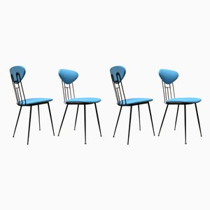 Italian Light Blue Leatherette and Black Metal Dining Chairs, 1980s, Set of 4