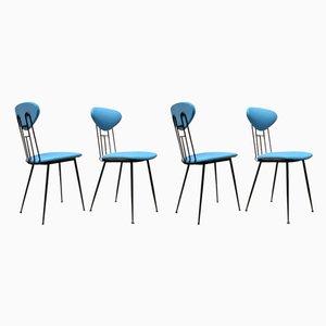Italienische Esszimmerstühle mit Bezug aus hellblauem Kunstleder & schwarzem Metallgestell, 1980er, 4er Set