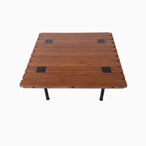 Italian Metal and Teak Coffee Table by Ettore Sottsass for Poltronova, 1950s