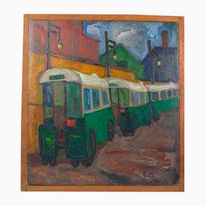 Art Déco Ölgemälde von Zuka, 1920er