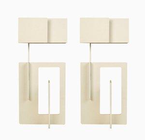 Lámparas de mesa italianas vintage blancas de Angelo Brotto. Juego de 2