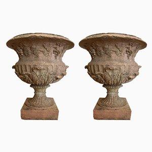 Urnas victorianas antiguas de terracota. Juego de 2