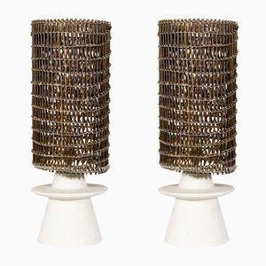 Französische Tischlampen aus Gips & Korbgeflecht von Jean-Michel Frank, 1980er, 2er Set