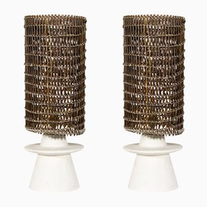 French Plaster and Wicker Table Lamps by Jean-Michel Frank, 1980s, Set of 2