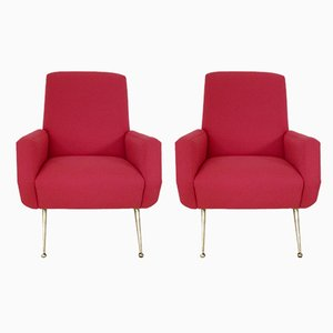 Mid-Century Italian Red Armchairs by Gio Ponti, 1950s, Set of 2