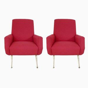 Mid-Century Italian Red Armchairs by Gio Ponti, 1950s, Set of 2