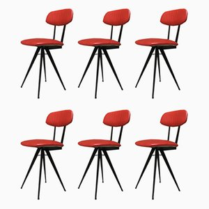 Italian Red Leatherette and Metal Dining Chairs, 1960s, Set of 6