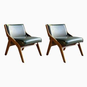 Sessel mit Gestell aus Nussholz von Neil Morris für Morris Furniture Glasgow, 1950er, 2er Set