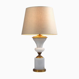 Antique French Opaline Glass and Brass Table Lamp, 1960s