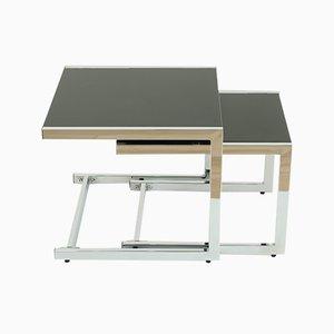 Satztische mit Stahlgestell & schwarzer Tischplatte, 1974, 2er Set