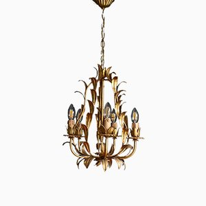 French Gilt Toleware Chandelier, 1950s