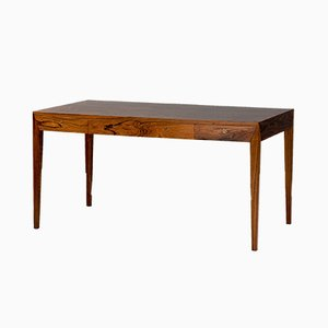 Rosewood Veneer Desk by Severin Hansen for Haslev Møbelsnedkeri, 1950s