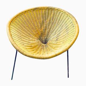 Silla auxiliar de ratán de Robert Mango, años 50