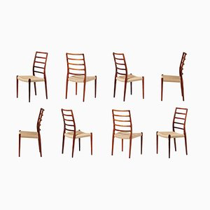 Model 82 Rosewood Dining Chairs by Niels Otto Møller for J.L. Møllers, 1970s, Set of 8