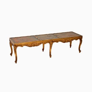 Antique Gilt Wood and Leather Coffee Table