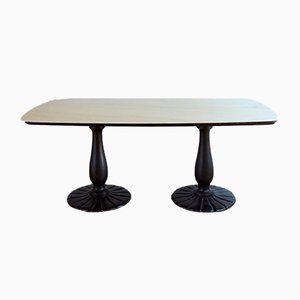 Vintage Art Deco Marble and Wooden Dining Table, 1930s