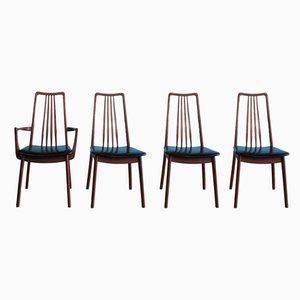 Chaises de Salle à Manger en Teck et Vinyle Noir par Anders Hansen pour Möbelfabrik Holstebro, 1960s, Set de 4